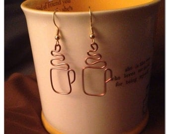 Copper, wire wrapped, hand-made coffee cup earrings