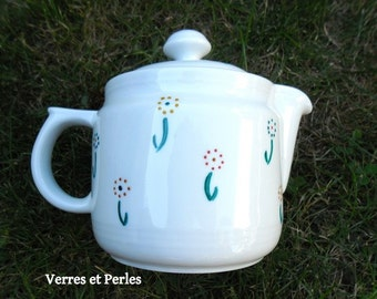 White teapot small flowers