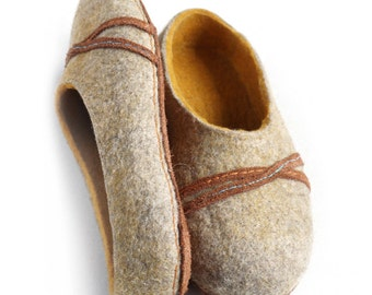 Felted slippers, Home shoes, Wool felted slippers, wool slippers  - Perfect gift for him or for her!