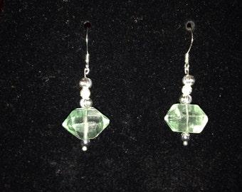 Green Fluorite Earrings SS Plated wire