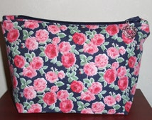 Rose floral fabric zipper pouch, makeup bag, cosmetic bag, pencil case, sewing accessory holder bag,handmade in Scotland