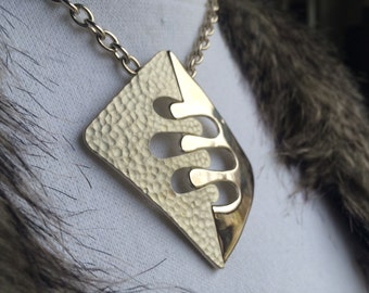 Vintage Silver Tone Modern Necklace| 1980's| 19 inch|Silver Pendant.