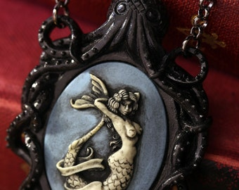 Cameo Necklace. Black Octopus Oval Cameo Blue Mermaid, Victorian Vintage Inspired