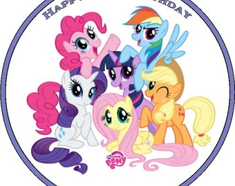 My Little Pony Personalised Pre Cut Icing/Rice Paper Cake Topper 7.5""