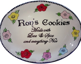 """18"""" big oval Personalized Pottery Plate ceramic cookies platter"""