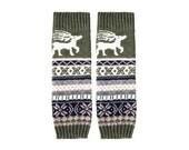 Reindeer Leg Warmers - Stretchy - Knitted - GREEN - Leg Warmers - Knee High