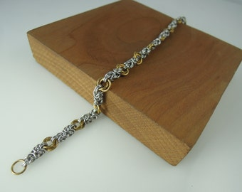 Small Floral Rosary Chainmaille Chain Bracelet, Chainmail Bracelet, Chainmail Jewelry