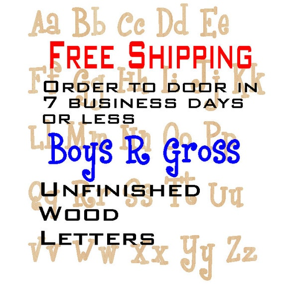 Unfinished Wood Letters, Free Shipping, Boys R Gross, Wood Craft Letters, laser cut wood wood, birch, wooden, wall, DIY