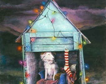 Christmas Card, Holiday Card, Greeted Christmas Card, Border Collie, Home For the Holidays, Rescue