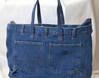 Repurposed Denim Bag with multiple pockets