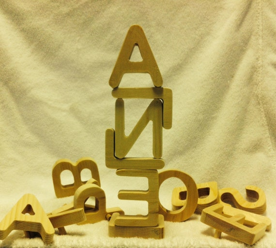 Natural Pine Wooden Letters of the Alphabet Blocks Non-Toxic