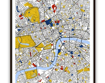 London Map Art / London, UK Wall Art / Print / Poster / Modern Home and Office Decor