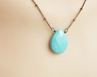 Turquoise teardrop necklace with antique brass  chain , Turquoise necklace