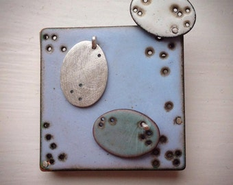 Pale Grey Blue Square Brooch with Ovals.