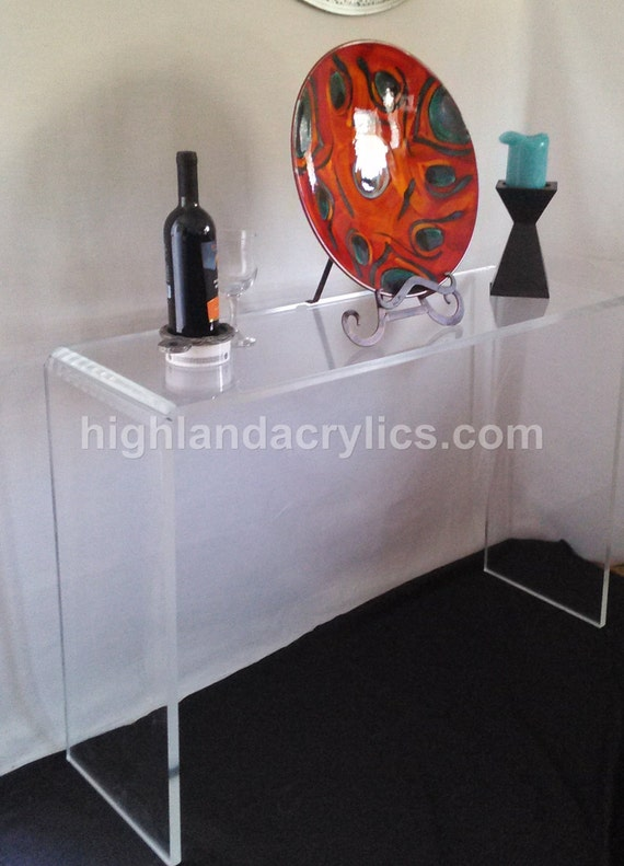 Acrylic waterfall table console table desk by highlandacrylics for Small acrylic console table