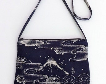 Shoulder Purse With Zipper In Japanese Cotton