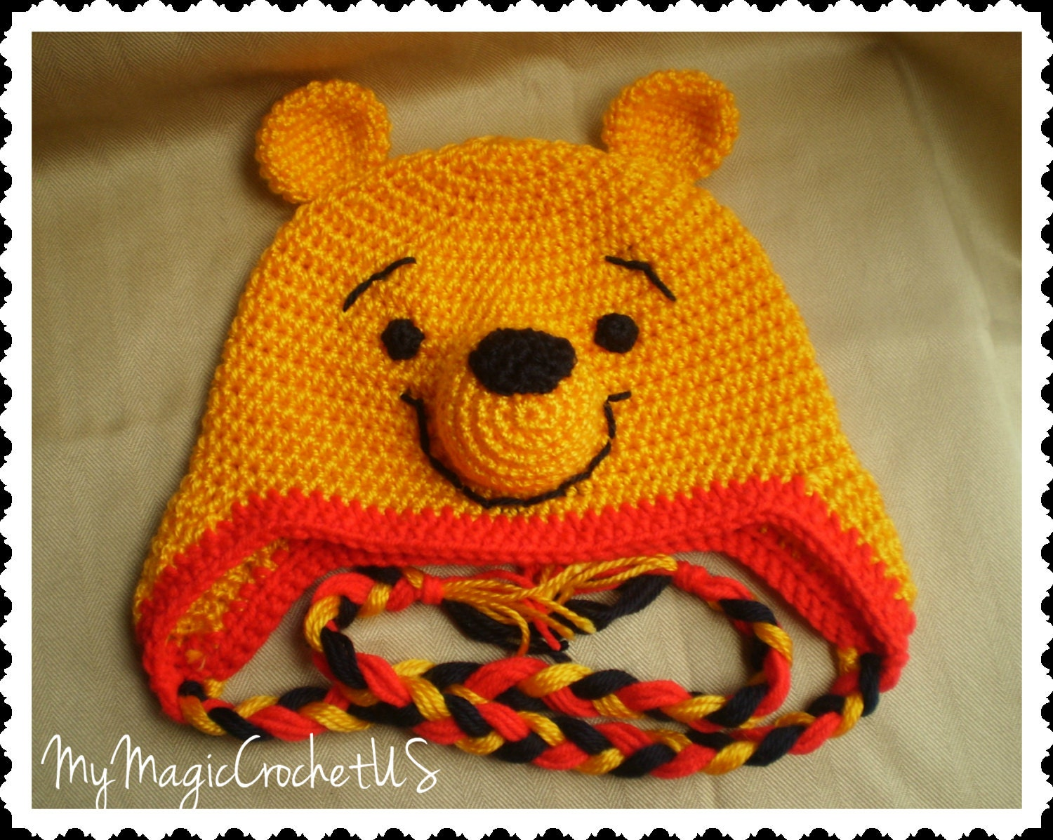 Winnie the Pooh Crochet Hat Made with Soft yarn