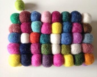Felt mini bag with colorful balls