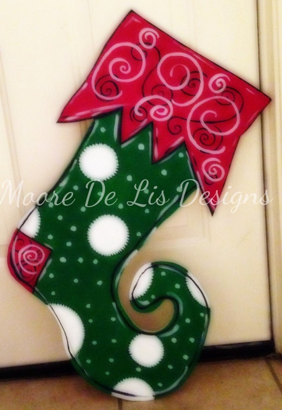 Items similar to whimsical stocking door hanger for Unique christmas door decorations