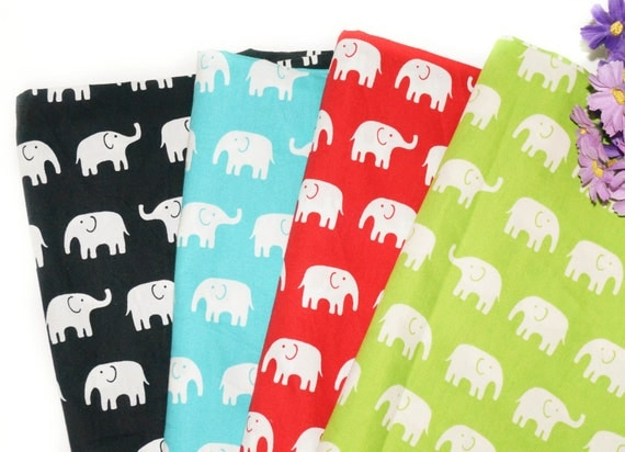 Elephant cotton fabric by the yard kids fabric girl by for Kids fabric by the yard
