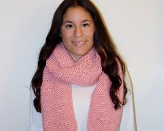 Long Chunky Knit Scarf Pink - Light Pink, Pastel Pink