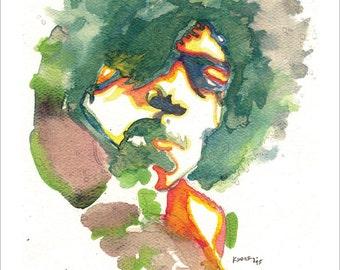 "Jimi Hendrix 11""x17"" Watercolor Print"