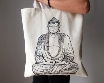Buddha tote bag, Canvas tote bag, Yoga bag, Buddha yoga bag, Screen printing tote bag, Yoga accesories, Tote bag, Shopping bag