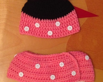 Minnie Mouse hat and diaper cover set/ 0-9 months