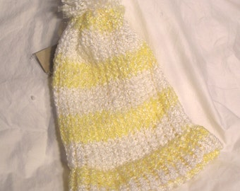 Yellow And White Striped  Hat