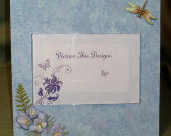"""Light Blue with Flowers & Dragonfly  4""""x6"""" acrylic photo frame"""