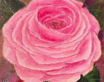 """ROSE--- original oil painting mini art from my """" sweets"""" collection gorgeous one of a kind piece of art NOW********Free Shipping **********"""