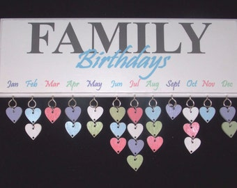 Family Birthday Reminder Plaque Board Calendar
