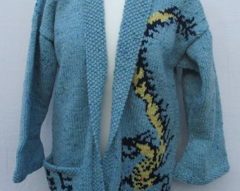 Hand knitted dragon Cardigan