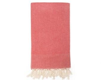 Fouta towel Red  Tunisian spa waffled linen