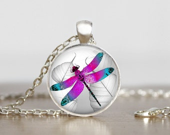 Dragonfly - Purple and Teal - Dragonfly Necklace - Key Ring - Key Chain - Gift -