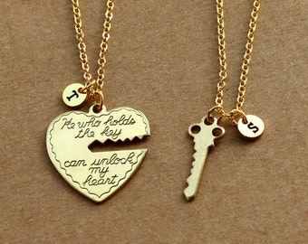 He who holds the key gold necklace, heart key necklace, his and her, boyfriend girlfriend gift, valentines day gift, 2 necklaces ON SALE