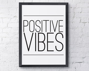 "Typography Poster ""Positive Vibes"" Quote Motivational Inspirational Happy Print Wall Art Home Decor"