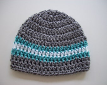 Baby Boy Hat, Ready to Ship, Newborn Hat, Crochet Baby Hat, Baby Boy, Baby Newborn Hat, Newborn Prop, Newborn Baby Hat, Grey White, Baby Hat