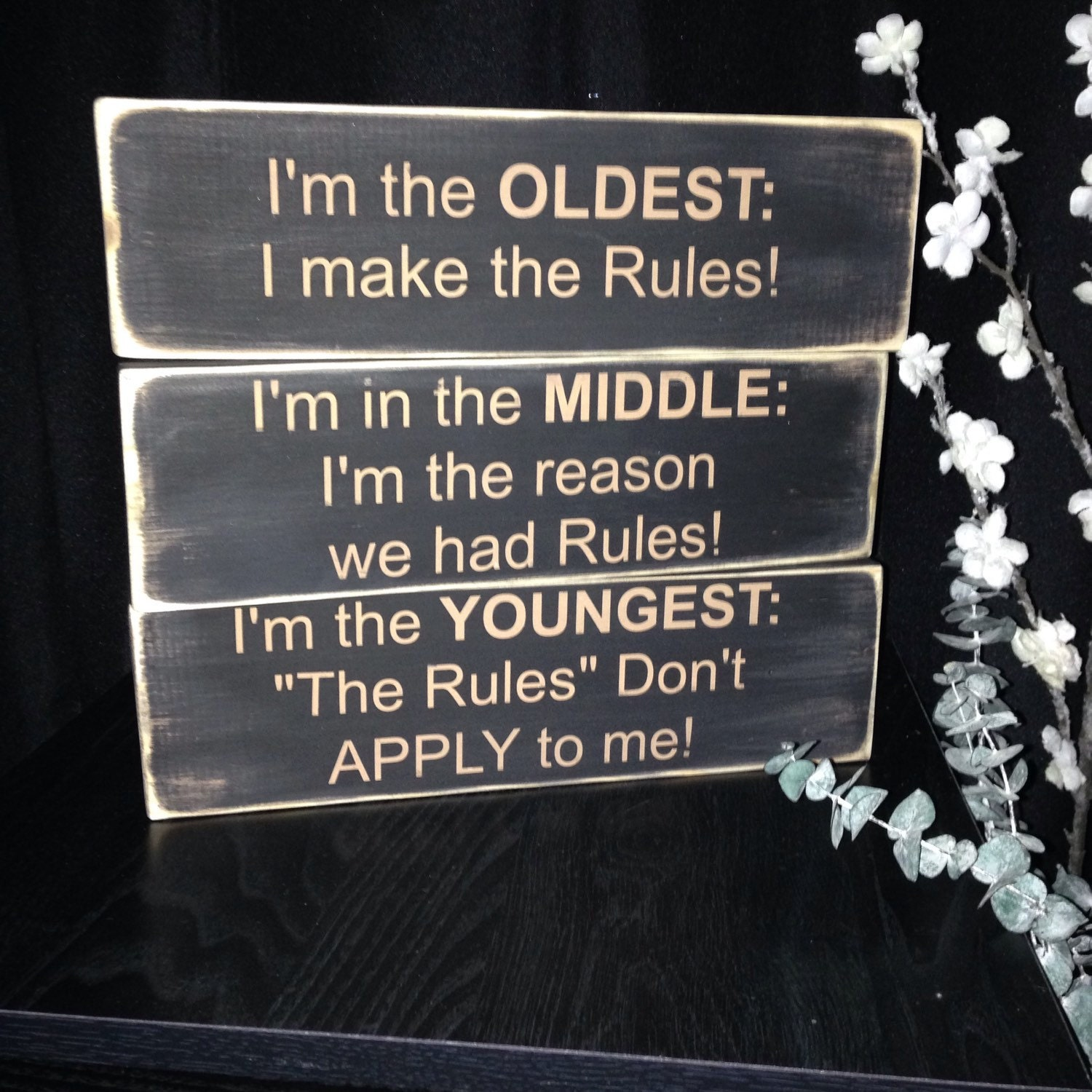 Oldest Middle Youngest Child House Rules 3 Seperate Signs
