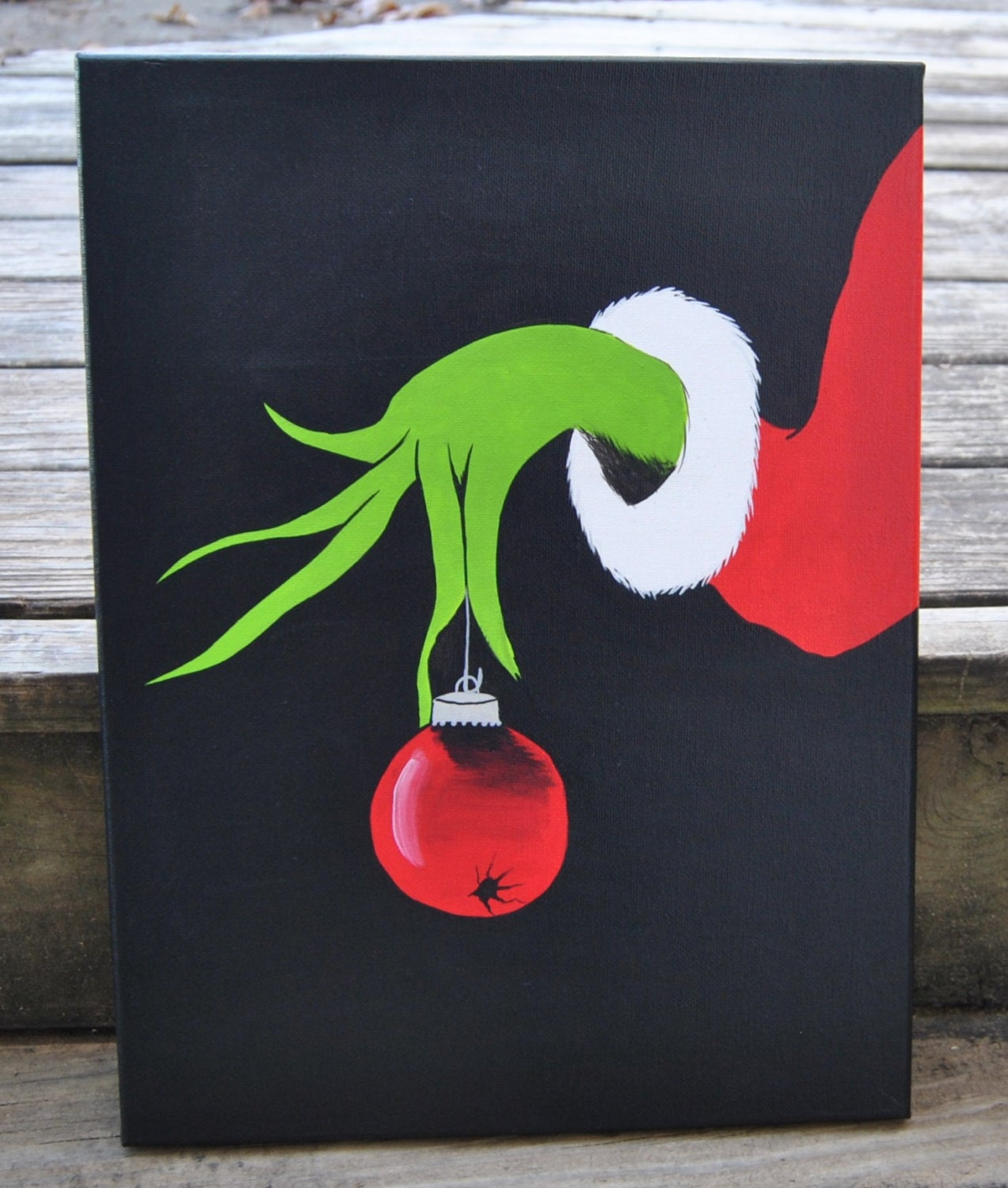 Christmas grinch canvas painting artwork grinch display for Easy christmas paintings on canvas
