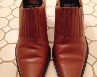 vintage southwestern ankle boot / brown boot / low cut boot / 8.5