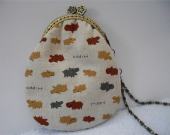 Handmade Cotton Clutch Wallet Coin Purse Cosmetic Bag Kisslock Purse
