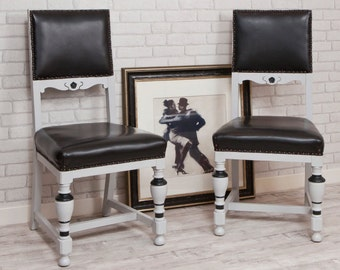 SALE NOW 145.00GBP Pair of Accent Chairs in Black & Grey