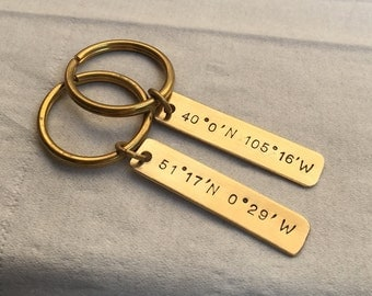 Personalized long distance boyfriend gift keychain, Coordinate key chain gold, Couples keychain, boyfriend long distance Boyfriend Gift