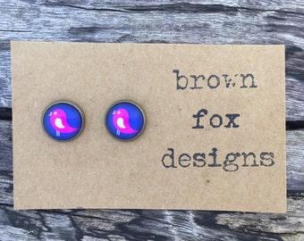 Pink bird antique bronze stud earrings