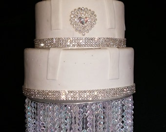 Real Rhinestone Sparkling Heart within a Heart Cake Push-In