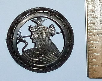 Vintage Egyptian Lady Pharaoh Silver Cutout brooch