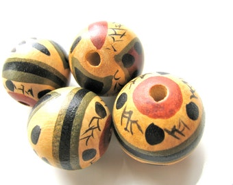 Wood beads, Painted wood, 7 beads, 18 to 20mm   # 334