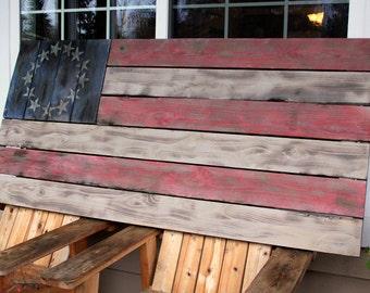 Vintage, Rustic, Colonial Style Barnwood Flag