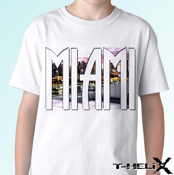 Miami new white holiday t shirt florida city print design for T shirt printing miami fl